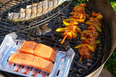 Photo pour Fish, salmon and chicken Skewer on the grill. - image libre de droit