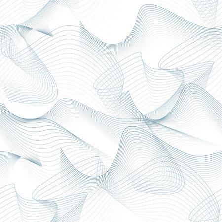 Seamless techno pattern. Abstract chaotic squiggles. Textured intricate background. Vector line art design. Gray waves, subtle curves. Fantasy wallpaper. Creative illustration
