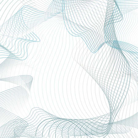 Abstract waves concept. Vector background. Line art futuristic design, chaotic squiggles. Industrial pattern in teal, gray.Technology subtle curves. Template with space for text. EPS10 illustration