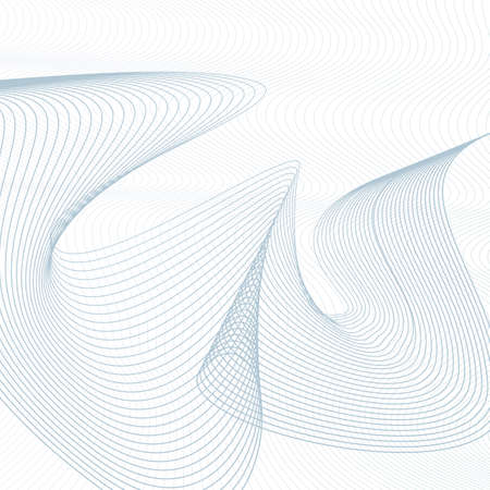 Undulating thin curves. Line art technology pattern. Industrial background. Abstract vector squiggles. Flying net imitation. Sound, radio wave concept. Modern sci-tech design in light blue, gray, white hues. EPS10 illustration
