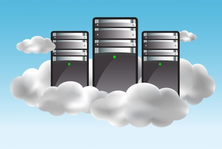 Cloud computing concept with servers in the clouds. illustration