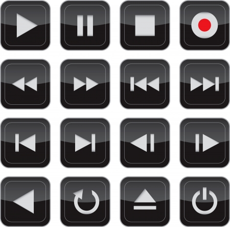 Multimedia control glossy icon/button set for web, applications, electronic and press media