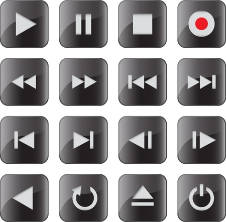 Black glossy multimedia control icon/button set for web applications. illustration