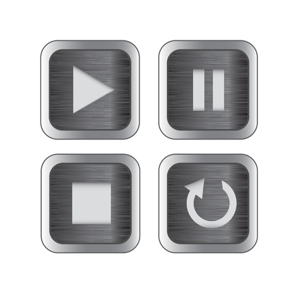 Multimedia control brushed metal icon/button set for web, applications, electronic and press media