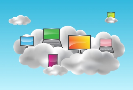 Illustration pour Cloud computing with desktops, notebooks, smartphones and netbooks on the clouds - image libre de droit