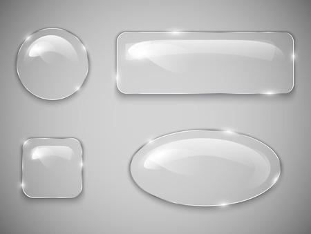 Transparent glass buttons  Vector illustration