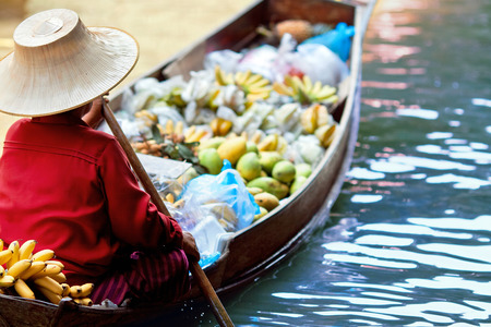saleswoman at Floating Market Damnoen Saduak, Thailand