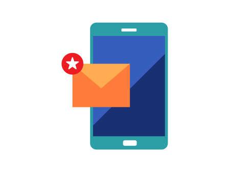 Illustration pour mobile phone with text message clipart vector illustration - image libre de droit