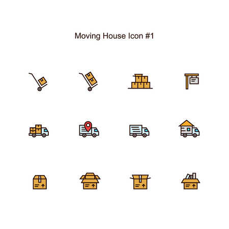 Ilustración de moving house and relocation icon set design. simple clean colored illustration. - Imagen libre de derechos