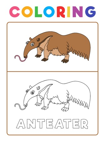 Illustration pour Funny Anteater Animal Coloring Book with Example. Preschool worksheet for practicing fine colors recognition skill. Vector Cartoon Illustration for Children. - image libre de droit
