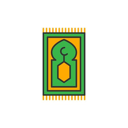 Illustration pour Islam prayer rug for shalat. Simple monoline icon style for muslim ramadan and eid al fitr celebration. - image libre de droit