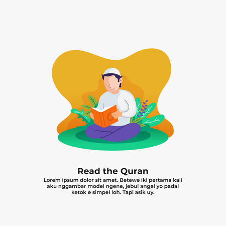Illustration pour muslim man reading quran the holy book of islam with leaf and flower nature background. ramadan activity vector illustration design. - image libre de droit