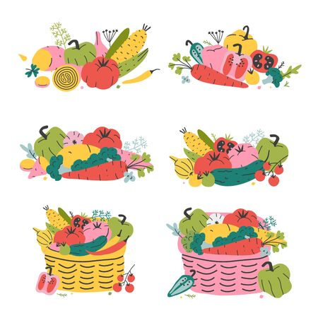 Illustration pour Vegetables in wicker baskets, ripe fresh seasonal vegetables, collection of veggies, organic harvest, farming market basket. Flat hand drawn vector illustration, good as print poster, card or sticker. - image libre de droit