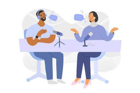 Illustration pour Podcast interview, host and guest discussion on radio program, hand drawn people, vector cartoon illustration, man and woman sitting, talking and recording content with microphones, modern art - image libre de droit