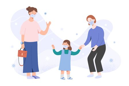 Illustration pour Mother taking child to kindergarten after coronavirus pandemic, waving goodbye, girl and nanny in face masks, children go back to school after covid concept, vector flat cartoon characters - image libre de droit