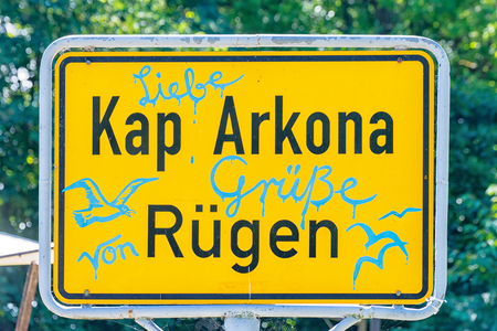 The yellow road sign Cape Arkona on the Baltic Sea