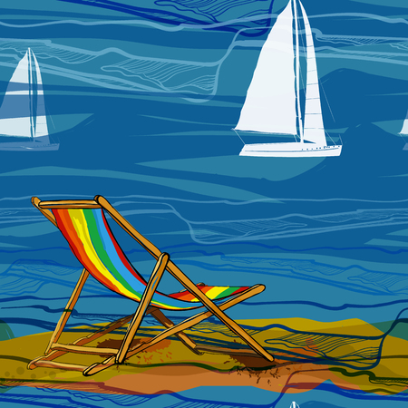 Vector illustration of seamless pattern with lounge on brink and sailing-ship on water. Drawing wallpaper with yellow sand