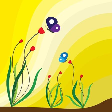 Spring season flowering plants, red flowers and butterflies