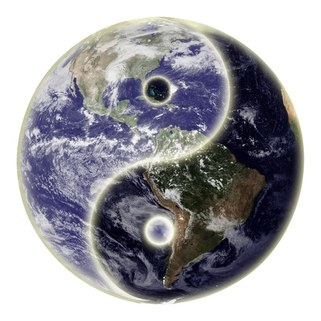 Yin and yang symbol and globe or earth.