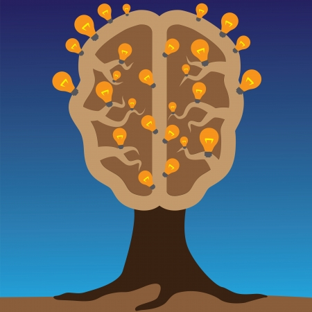 Concept of brain as a tree with bulbs as solutions to problems  Concept of using brain to create great ideas to solve human problems