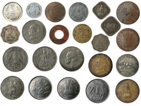 Old, new and antique indian brass, copper, aluminium, silver, and other metal coins isolated on white with clipping mask