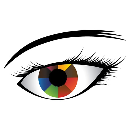 Colorful illustration of human eye with multicolored iris showing almost rainbow colors and black pupil at the center. The graphic(girl's eye) is created on a white background