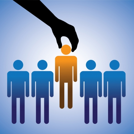Concept illustration of hiring the best candidate  The graphic shows company making a choice of the person with right skills for the job among many candidates