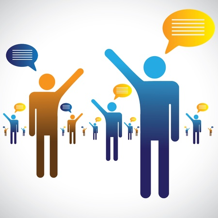 Photo for Many people talking, speaking or chatting graphic  The illustration shows many people symbols with chat icons speaking with one an other - Royalty Free Image