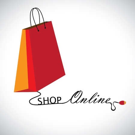 Illustration of shopping online using a technology  The graphic contains a shopping bag symbol linked to a mouse with the wire forming words  shop     online