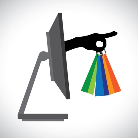 Buying shopping online using a technology PC   The graphic contains a PC and shopping bag symbol held by a silhouette hand representing the concept of e-commerce online shopping e-business, etc