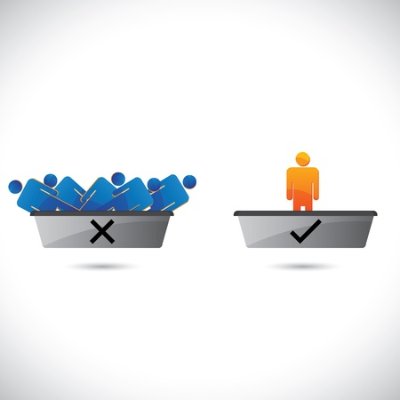 Selection(hiring) and rejection of employees, workers or staff. . The graphical illustration shows hired candidates in one tray and rejected ones in another tray