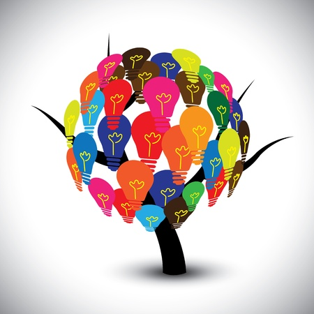 Vector graphic of idea tree with colorful bulbs as solutions. The illustration can represent concepts like collective human knowledge, intellectual property, group of successful ideas, etc