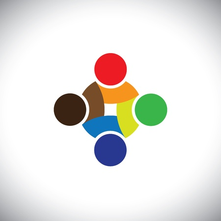 Colorful design of people symbols working as team & cooperating. This vector graphic can represent unity and solidarity in group or team of people, excellent teamwork, etc