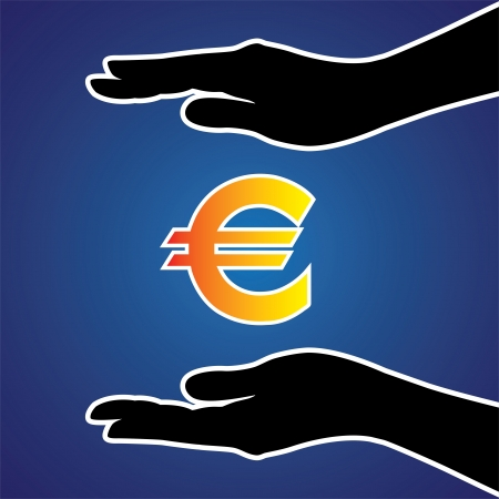 Illustration of protecting or safeguarding euro money. This graphic conceptually represents safeguarding money, investment, riches, money or any other financial asset