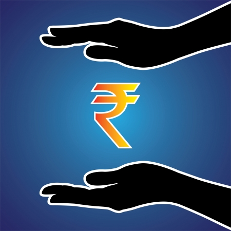 Illustration of protecting or safeguarding indian rupee. This graphic conceptually represents safeguarding money, investment, riches, money or any other financial asset