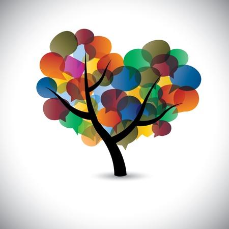 Illustration pour Colorful tree chat icons & speech bubble illustration - image libre de droit