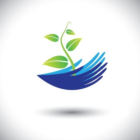 Concept graphic- woman's hands with plant or seedling icon(symbol). The illustration can represent concepts like environmental conservation, protecting plants, forest conservation, etc