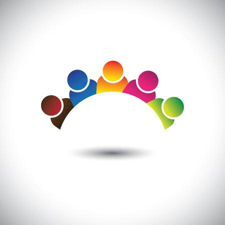 Ilustración de colorful office executives(employees) unity & diversity- vector graphic.  - Imagen libre de derechos