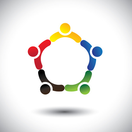 unity in people community, solidarity & friendship- concept vector. This illustration can also represent colorful kids playing together holding hands in circles or union of employees, workers or staff