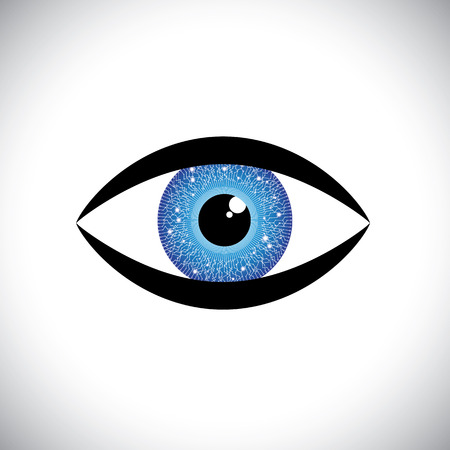 beautiful blue color human eye icon with tech circuit in iris. The vector graphic represents concept of futuristic, robot like, modern eye with relection in the iris