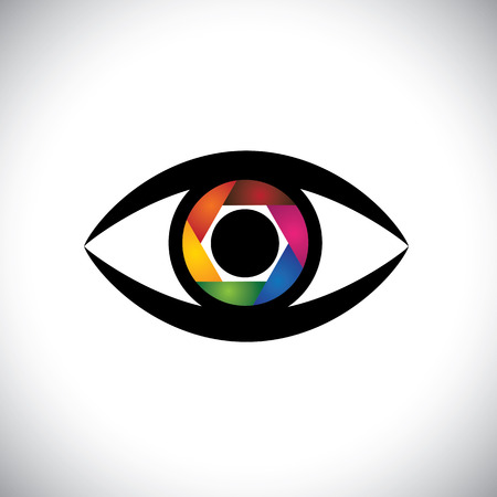 concept icon eyes as camera with colorful shutter.