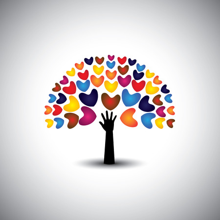 heart or love icons and hand as tree - concept vector. This graphic also represents harmony & peace, spreading love, empathy and compassion