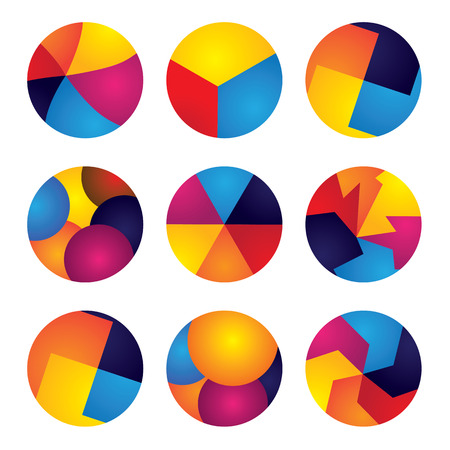 colorful abstract circles vector icons of design elements. This graphic contains orange, yellow, red, blue colors in vibrant combinations