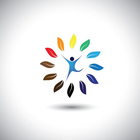 Ilustración de people & nature balance circle - eco lifestyle concept vector icon. This graphic also represents harmony, nature conservation, sustainable development, natural balance, development, healthy growth - Imagen libre de derechos