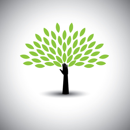 human hand & tree icon with green leaves - eco concept vector. This graphic also represents environmental protection, nature conservation eco friendly growth & expansion, sustainability nature loving