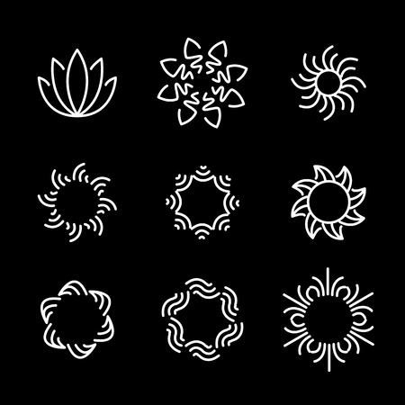 vector line icon set of flower designs & floral elements. these monograms or emblems also represent beauty & wellness business, women's beauty clinics, spa resorts
