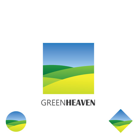 vector icon of green farm lands. this graphic also represents nature, green ventures, countryside, fields and gardens, organic farmingのイラスト素材