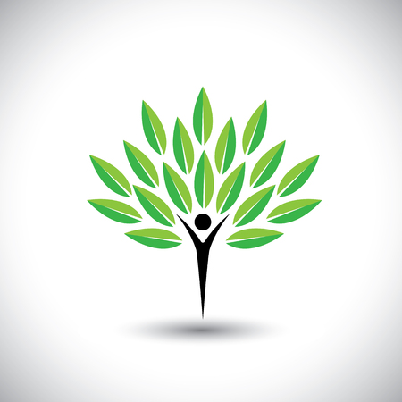 people & nature balance - eco lifestyle concept vector icon. This graphic also represents harmony, nature conservation, sustainable development, natural balance, development, healthy growth