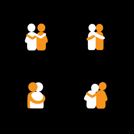 Illustration for set of logo designs of friends hugging each other - vector icons. this also represents concepts like bonding, close relationship, intimacy and love, brother and sister, lovers, partners - Royalty Free Image