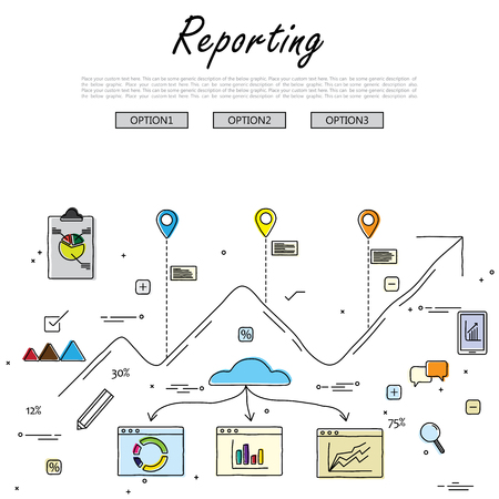 hand drawn line vector doodle of concept of reporting and statistics. also represents business reporting, financial communication and investment, analytical reporting, data reporting, results summary
